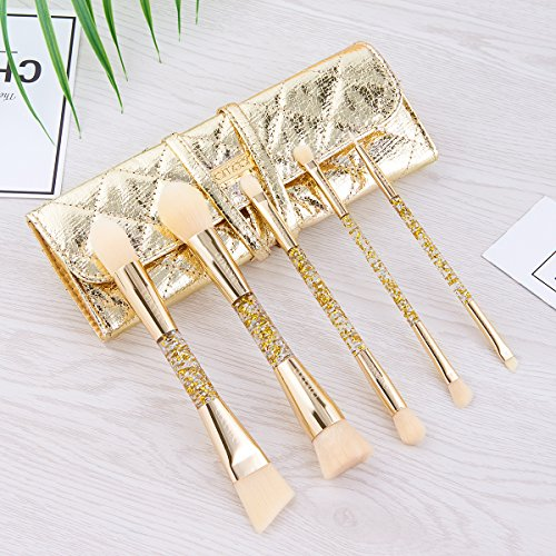 Make up Brush Set, amoore Make up Brush Dual End Foundation Brush Powder Brush Lip Brush Eyebrow Brush with Travel Case (Dual end 5pcs, Golden)