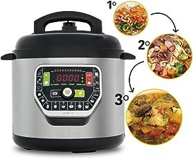 Pentola programmabile GM Modello G. Robot da cucina programmabile multifunzione che cucina al posto tuo. Funziona con o senza pressione fino a 90Kpa, 19 menu, modalità ECO, capacità fino a 6 litri.