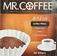 Mr. Coffee Basket Coffee Filters, 8-12 Cup, White Paper, 8-inch, 50-Count Boxes