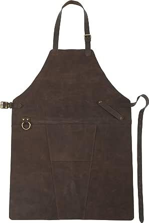 FUN FAN LINE - Tablier Professionnel Luxueux en Cuir de Style Vintage avec des Bretelles réglables et Une Poche Frontale. Idéal pour Le Chef, la Cuisine et l'extérieur. (84,5cm x 61,3cm x 0,3cm)