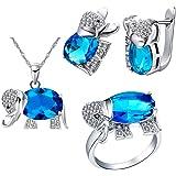 Uloveido - Set di gioielli con elefante portafortuna per mamma, ragazza, orecchini e anelli, per anniversario, compleanno, re