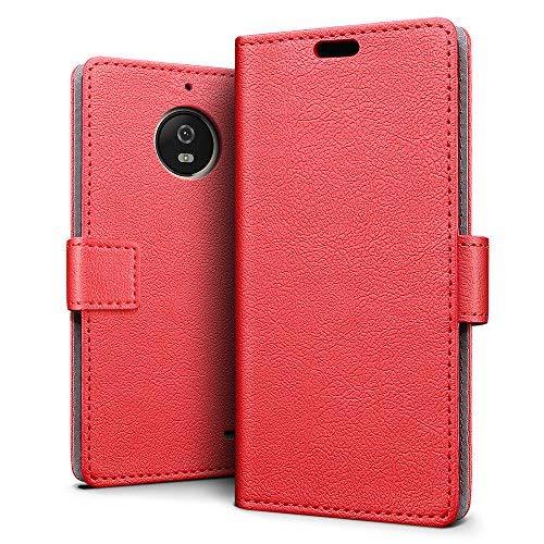 SLEO Motorola Moto E4 Plus Hülle – Premium Luxuriös PU lederhülle [Vollständigen Schutz] [Kreditkartenfach] Flip Brieftasche Schutzhülle im Bookstyle für Motorola Moto E4 Plus - Rot