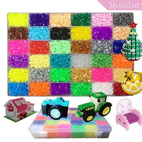 Sicherungsperlen-Kit, 10500 Pcs 3D Perler Perlen Mit Aufbewahrungskoffer Hama Beads Compatible Kit 36 Farben Geschenk für Kinder