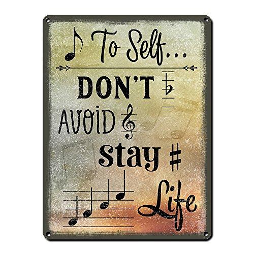 Alamazookie Musik Motto Decor ~ Metall Schilder ~ Musik Raum und Studio Wand Dekorationen ~ Geschenke für Musiker, Orchester Dirigenten, Songwriters, Lehrer, Komponisten, Sänger Note to Self.