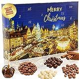 C&T Knusperkalender Weihnachtsmarkt 2019 - Adventskalender - 24 leckere Knabbereien für den Advent mit Mischungen aus Mandeln, Cranberries, Erdnüssen, und anderen Snacks wie frisch vom Weihnachtsmarkt