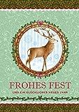 Erhältlich im 1er 4er 8er Set: Wunderschöne Klappgrusskarte/Weihnachtskarte/Glückwunschkarte/Neujahrskarte/Grusskarte in Grün/rot mit einem Hirsch, Schneeflocken, Stechpalmen und Bordüre. Text:
