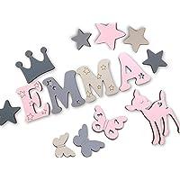 7cm Holzbuchstaben, Türbuchstaben, Kinderzimmer I Tolle Farbkombinationen Jungen Mädchen I Inkl. 2 Sternen sowie…