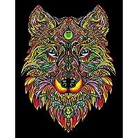 """Terciopelo color de 47 x 35 cm """"Lobo"""" Dibujo Sistema de Coloración (grande, Multi-Color)"""