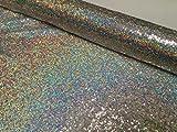 3mm Mini Pailletten Stoff Material, 1Wege Stretch/130cm breit/Sparkling Silver Hologramm Pailletten (Meterware)