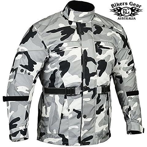 Bikers Gear UK chaqueta de Moto con reforzado en los hombros y codos homologados CE color Gris camuflaje