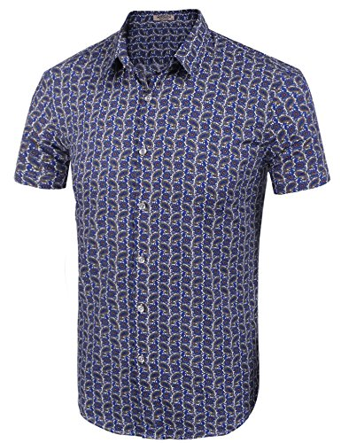HOTOUCH Herren Hawaiihemd Hawaiishirt Urlaub Hemd Strandhemd Freizeithemd Hawaii-Print Mit Kurzarm Typ1-Mehrfarbig 2