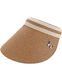 QitunC Mujeres Sombrero Playa Paja Anti-UV Sombrero De Visera para Viajar  Casquillo Café Ligero b8b9f903125