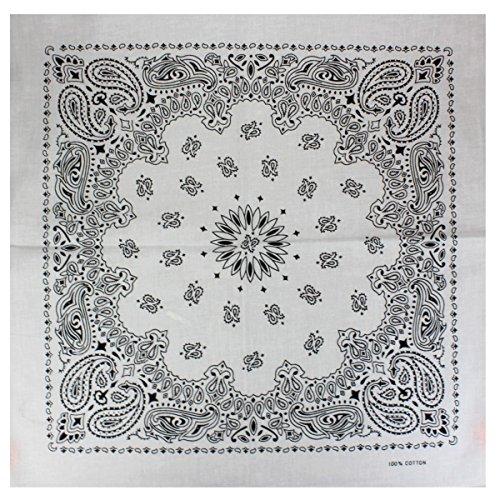 Bandana / Bandanas mit exclusivem Paisley Muster in reiner Baumwolle, Weiß, 55x55cm