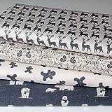 4 Fat Quarters - Scandi Christmas Grey - Natural Unbleached Cotton - Vintage Style