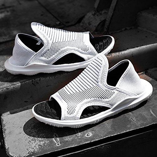 Xing Lin Plage Flip Flop Printemps / Été Hommes Sandales Tricoter Voler Flyweave Tricot Manches Plat Bottom Trou Chaussures Mode Chaussures Patins Blanc