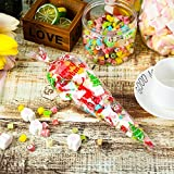 100 Counts Christmas Patterned Cone Cellophane Bags Treat Candy Bags with 100 Pieces Gold Twist Ties for Christmas Party Favor (color C) Bild 6