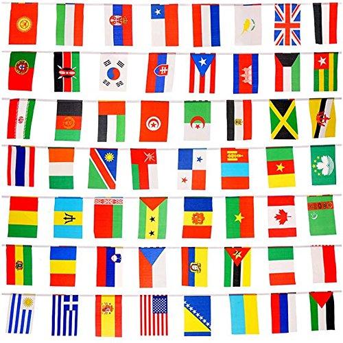 20,8x 14cm 164Füße International Fähnchen, 200Länder Flaggen Welt Flaggen Wimpelkette Pennant Banner für Party und Cub decoretions (20,8x 14cm) (Internationale Flaggen-party)