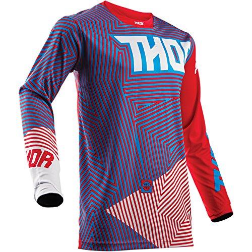 Thor Pulse Geotec Kinder Motocross Jersey Enduro Offroad Trikot Shirt Quad Schwarz Weiss Blau Rot (S, Blau / Rot) (Jersey Motocross Mädchen)