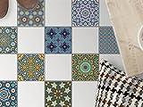 creatisto Fliesen-Aufkleber | Deko-Dekorsticker Badfliesen Küchen-Folie Bodendeko | 15x15 cm Muster Ornament Orientalisches Mosaik - 9 Stück