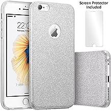 TecHERE StarCase - Coque Etui à La Mode pour iPhone 6 / 6s (4,7 pouces) - Strass Paillette Brillante Bling Glitter Housse en Silicone Antichoc - Protecteur d'écran Inclus (Argent)