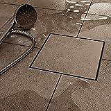 VILSTEIN VS-DB03-25B Duschrinne mit Siphon Boden-und Duschablauf, Quadratisch Befliesbar, Silber, 25 x 25 cm
