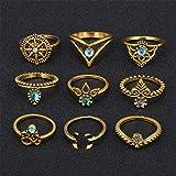 Yinew 9Pcs Damen Knuckle Ring Set Vintage Midi Persönlichkeit übertrieben Diamant Kreuz Stein Ringe Schmuck