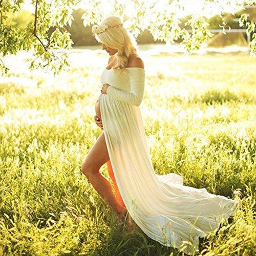 Hykis Frauen Wei?er Rock Mutterschaft Fotografie Props Elegante Kleidung Schwangerschaft Umstandskleider F¨¹r Schwangere Fotosession Clothin (Jordan-chiffon-rock)