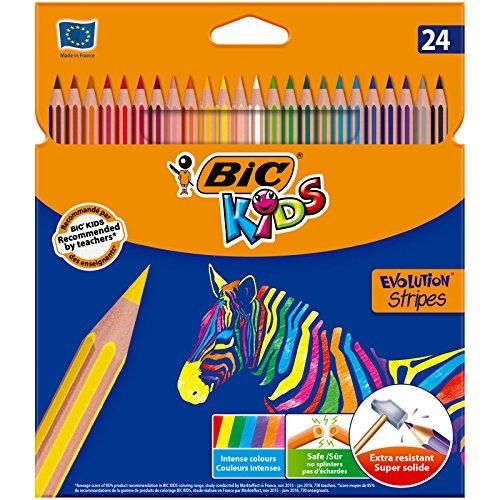 BIC 950525 Kids Evolution - Pencils, colorful stripes design (24 Pack)