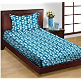 Trance Home Linen 100% Cotton 180TC Printed Single Fitted Bedsheet With 1 Pillow Cover (Blue White Circles)