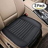 Big Ant Auto Sitzauflage Sitzkissen Sitzbezug Sitzschutz Schonbezug mit kleiner Organizer Tasche, atmungsaktiv, aus PU Leder und Bambuskohle (Schwarz, 2Stück)