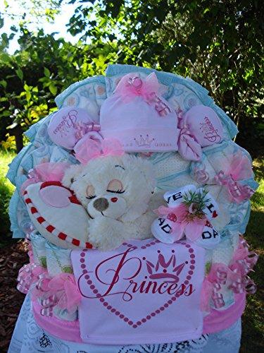 """Windeltorte""""Schlafbär Princess und Babyset""""rosa,Geburt,Taufe,Hochzeit"""