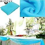BITFLY 5M x 1.35M Sheer Organza Swag DIY Tela de la boda de la tapa de la tabla de eventos Decoración Partido Escalera arco Valance tabla falda - 30 colores disponibles Turquesa
