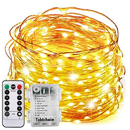 Tobbiheim Batterie Lichterkette Außen 100 LEDs 12 Meter IP68 Wasserdicht 8 Modi mit Fernbedienung und Timer DIY Dekoration Kupferdraht für Weihnachten, Garten, Hochzeit -...
