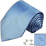 Paul Malone Krawatten Set 3tlg 100% Seide blau uni (Überlange 165cm)