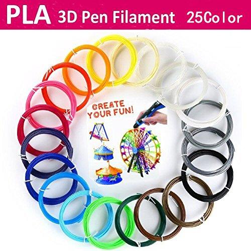 Rellenos de filamento PLA 3D Pen (25 colores 5cm 1.75mm cada uno) para DigiHero MYNT3D Hongdak iogo3D Canbor PACKGOUT 3D Printing Pen