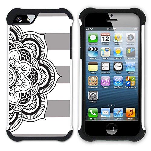 Graphic4You Mandala Blume Linien Muster (Wasserblau) Hart + Weiche Kratzfeste Hülle Case Schale Tasche Schutzhülle für Apple iPhone SE / 5 / 5S Grau