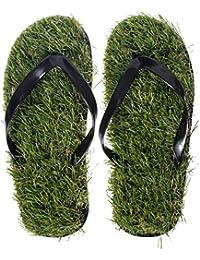 """Grinscard - Chanclas con diseño """"Lawn"""" - Zapato verde talla 40 a 44 - Sandalias Motiv Beach como idea de regalo"""