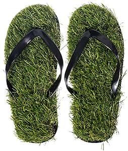 Grinscard Flipflops IM Rasen Design - Grün Schuh Größe 40 bis 44 - Motiv Strandsandalen Als Geschenkidee