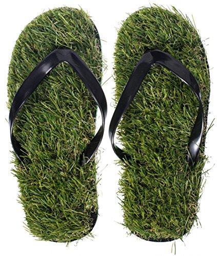 Grinscard Grinscard Flipflops IM Rasen Design - Grün Schuh Größe 37 bis 39 - Motiv Strandsandalen Als Geschenkidee