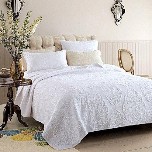 KAIRUI weiß beige Vintage Floral Tröster Set Doppelbett Steppdecke Set, White Paisley, Queen -