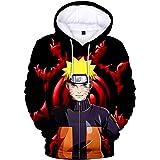 Haosheng Uomo Felpa con Cappucio Moda 3D Stampato di Naruto Anime Kakashi Hokage Maniche Lunghe Fashion Pullover