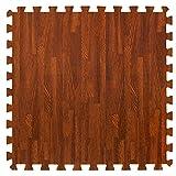 Materassino effetto legno in schiuma ad incastro - Perfetto come piano di protezione, in garage, per esercizio fisico, lo yoga, la stanza dei giochi. Schiuma EVA (4 piastrelle, colore marrone)
