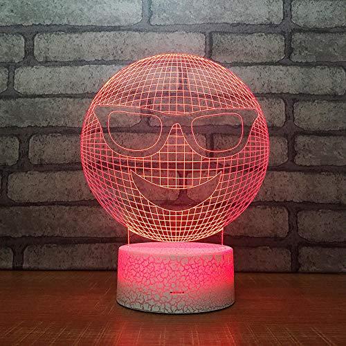3D Optische Täuschung Nachtlicht Smiley-Gesicht 7 Farben Erstaunliche Optische Täuschung Die Schlafzimmer-Dekoration Für Kinder Weihnachten Halloween-Geburtstagsgeschenk Beleuchten