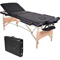 Wellhome 3 Zones Bois Table de Massage Pliante Léger Professionnelle Lit Massage Portable Pliable Hauteur Réglable Salon Spa avec Appui-tête, Accoudoir, Housse de Transport (Noir)
