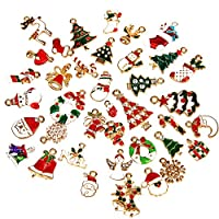 SAVITA 38Pcs Christmas Pendants Charm Jewelry Making Supplies Christmas Crafts Supplies DIY Ornaments for XmasDecorations Bracelet Making Decorative Pins Clothes Sewing Accessories