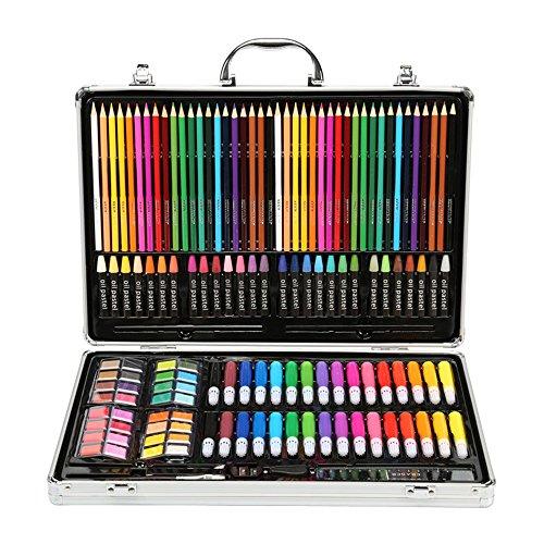 Kunstset für Kinder Künstlerbedarf Luxuskünstler Studio Kreativ-Set 143 Legierungsstücke, tragbare Kunst, darunter Aquarell, Buntstifte, Farbmarkierungen, Farbstifte usw. Schulgeschenk für Kinder - Kühlschrank Wachsen