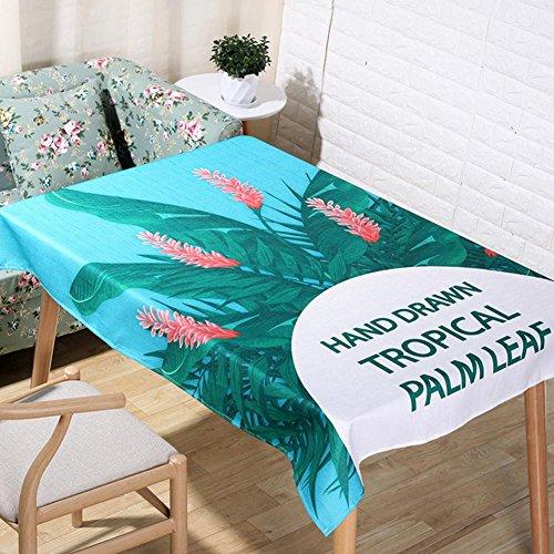 Nordic pastoral plante dessin animé tropical Palm Leaf nappes naturel lin 3D Digital impression Table tissu maison décoration tissu couverture serviette , 140*250cm