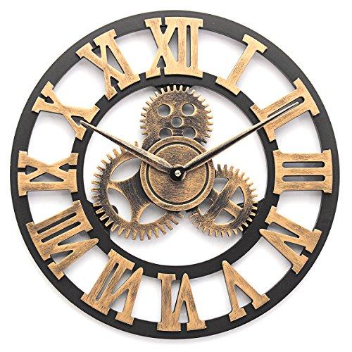Jeteven 40/60/80cm Reloj de Pared Decorativo Metal Reloj Creativo Retro Vintage Diseño Artístico Romántico de Sala
