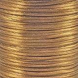 Fil Cordon queue de rat en satin 1,5mm pour kumihimo macramé Shamballa-Marron clair-5m