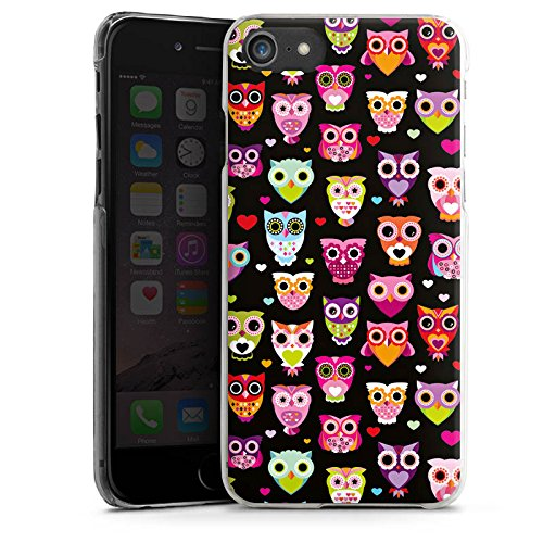 Apple iPhone 8 Hülle Case Handyhülle Eulen Owl Muster Bunt Hard Case transparent